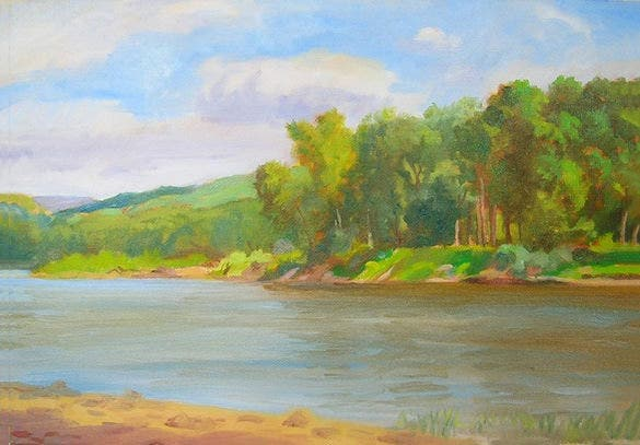summer painting of the river