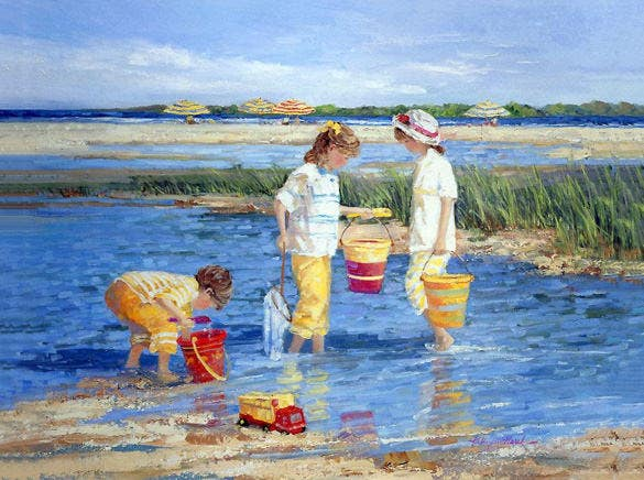 kids playing in summer painting