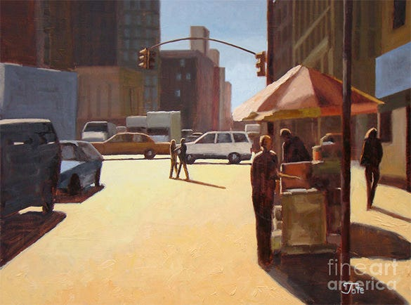 manhattan city in summer painting