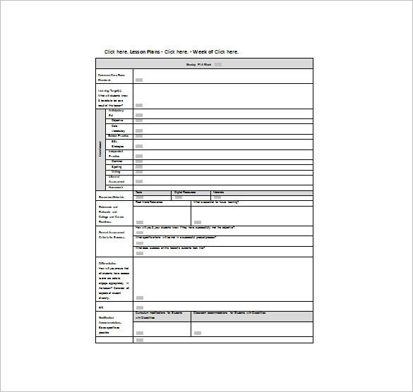 lesson plan template for common core standards free word template