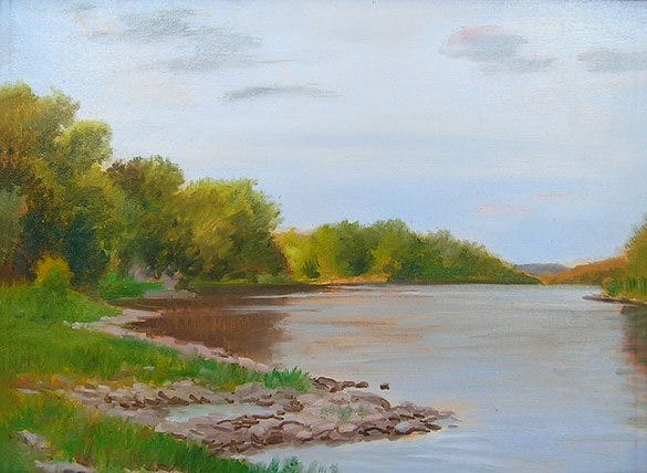 summer river oil painting for you