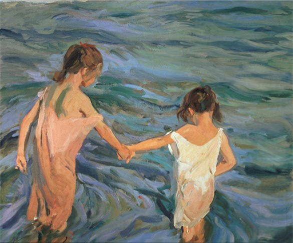 children in sea summer painting