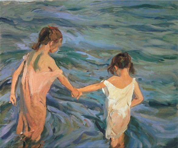 children in sea summer painting