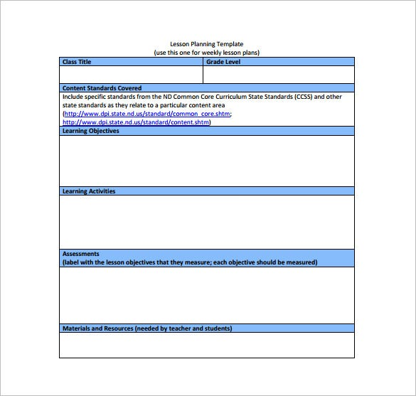 weekly common core lesson plan free pdf template