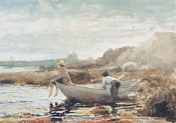 boys on beach summer painting