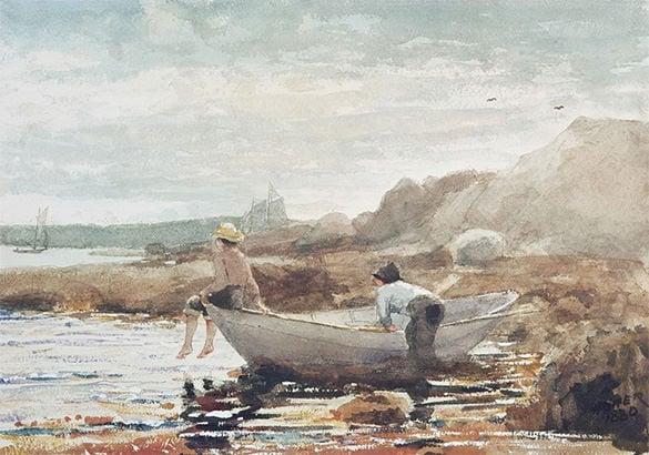 boys on beach summer painting