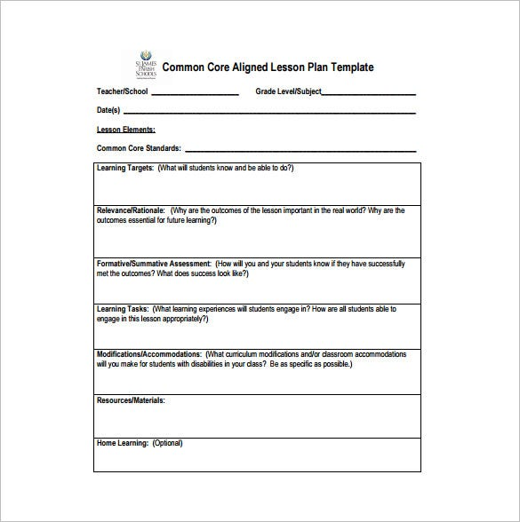 Common Core Aligned Lesson Plan Example PDF Template  Free Lesson Plan Format