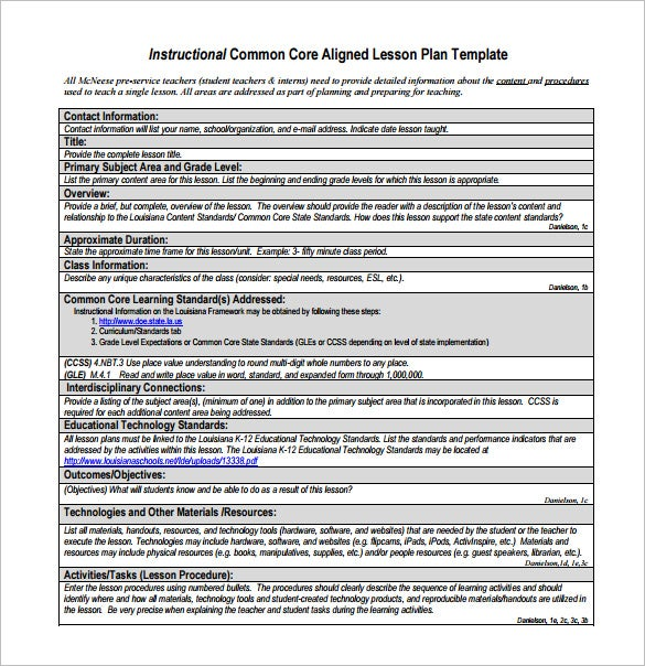 Common Core Lesson Plan Template   Free Sample Example Format