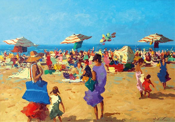 people on beach summer painting
