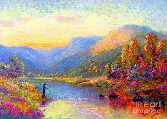fishing in hot summer painting