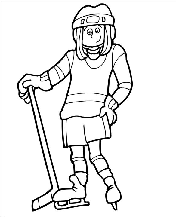 hockey player still coloring page