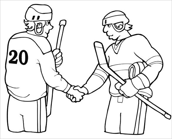 hockey players hand shaking coloring page
