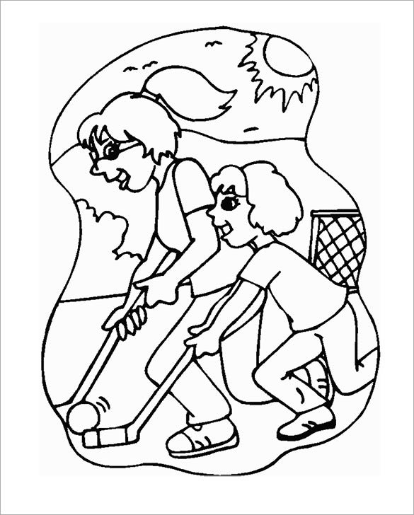 mom and daughter playing hockey coloring page