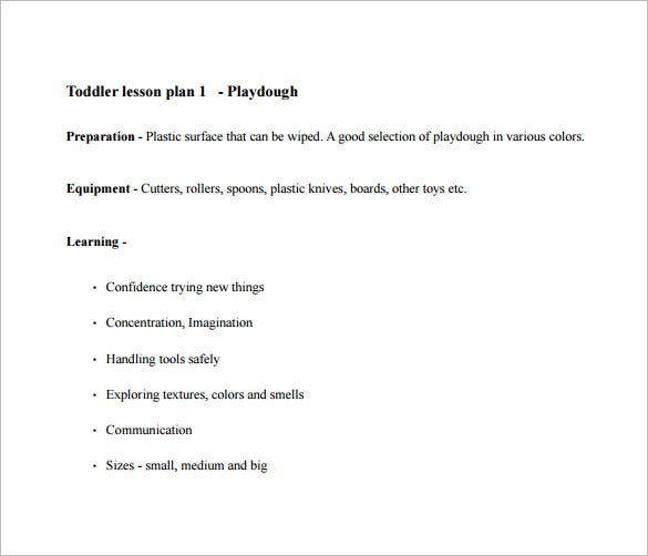 Toddler Lesson Plan Template Free Sample Example Format - Easy lesson plan template