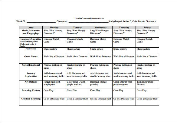 Awesome Free Toddler Weekly Lesson Plan PDF Template