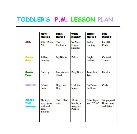 toddlers pm lesson plan free pdf download