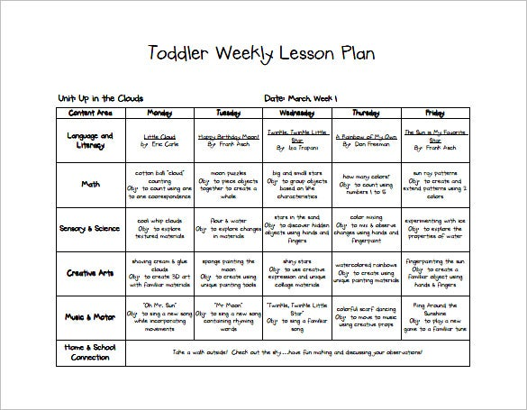 Toddler Lesson Plan Template   Free Sample Example Format
