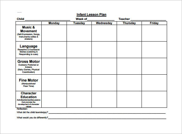 Infant Toddler Lesson Plan PDF Free Download