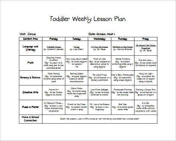 Toddler Lesson Plan Template   Free Word Excel Pdf Format