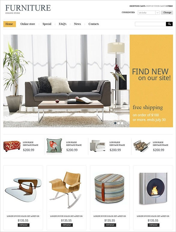furniture online home decor virtuemart theme