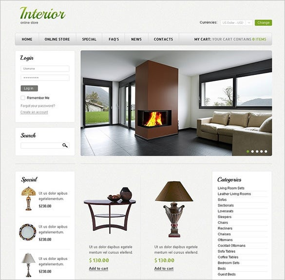interior home decor virtuemart template