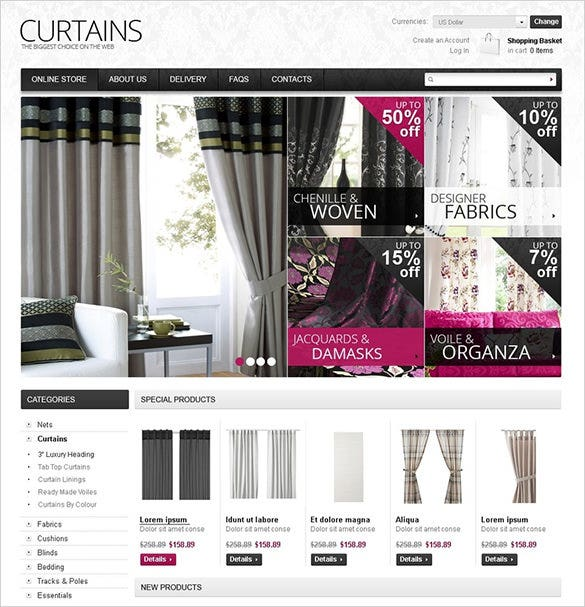 curtains home decor virtuemart theme