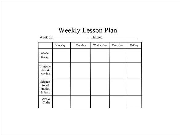 Weekly Lesson Plan Template   Free Sample Example Format