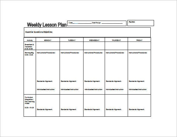 Weekly Lesson Plan Template 10 Free Sample Example Format – Free Lesson Plan Format