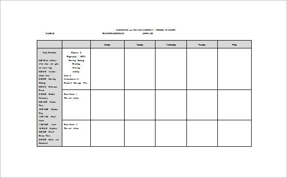Weekly Lesson Plan Template Word Roho4senses