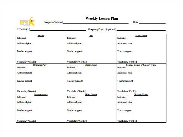 teachers weekly lesson plan free pdf template
