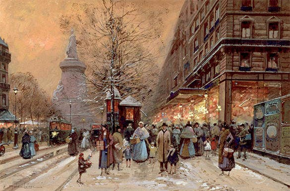 the place de la republique paris winter painting