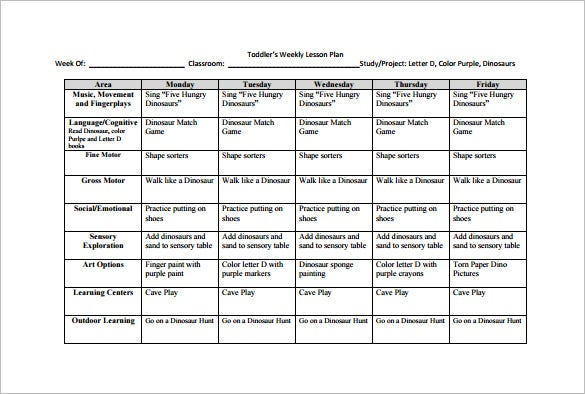 two year old lesson plan template - weekly lesson plan template 9 free sample example