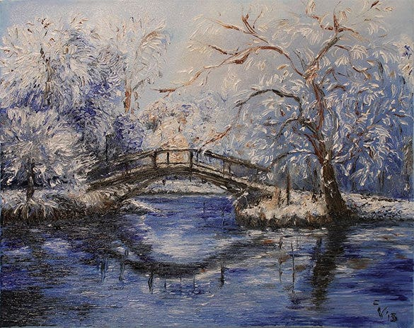 beautiful painting of winter