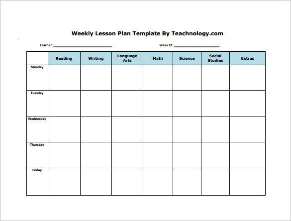Weekly lesson plan template 9 free sample example for Free lesson plan templates