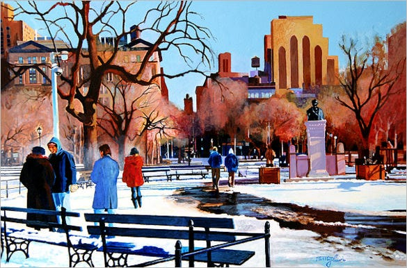 washington square winter oil painting