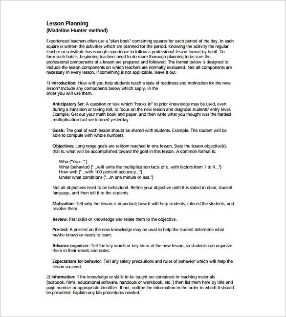 Madeline Hunter Math Lesson Plan Sample PDF Template  Free Lesson Plan Format