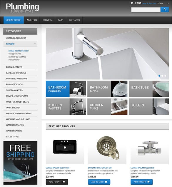 plumbing supplies maintenance virtuemart template