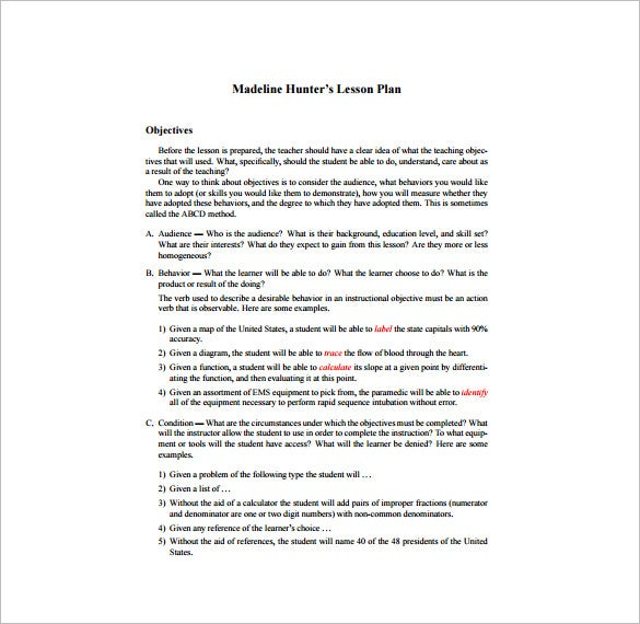 Madeline Hunter Lesson Plan Template – 6+ Free Sample, Example