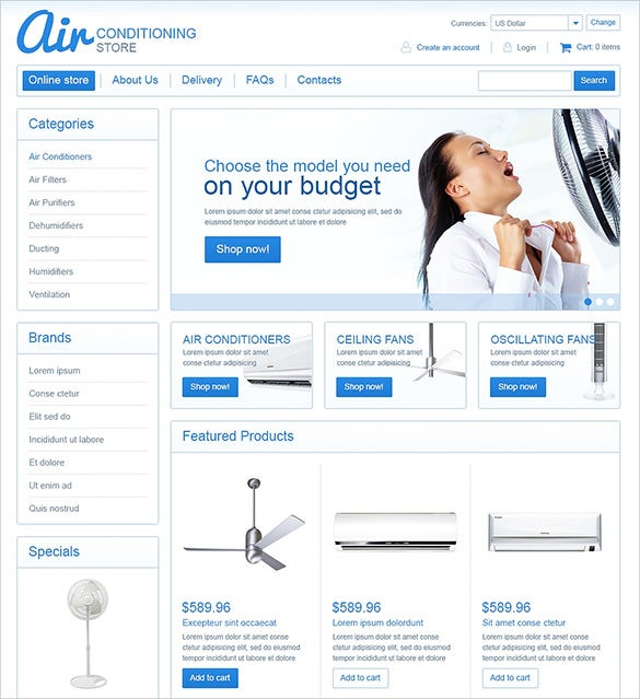 air conditioning store maintenance virtuemart theme