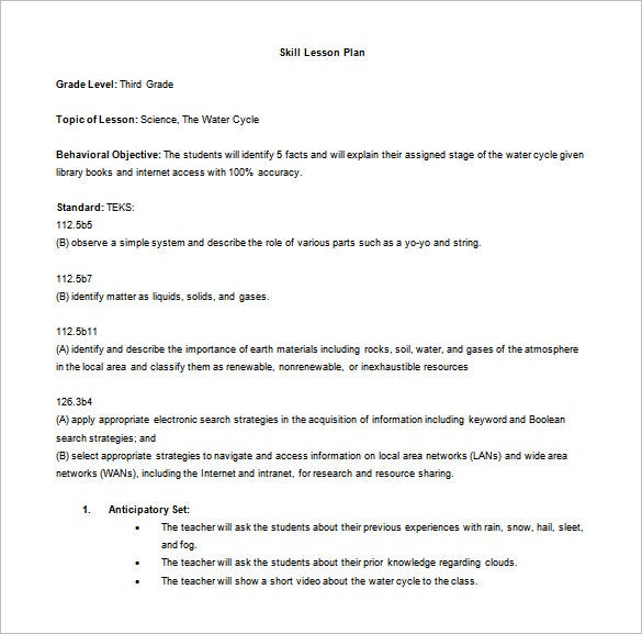 Madeline Hunter Lesson Plan Template   Free Sample Example