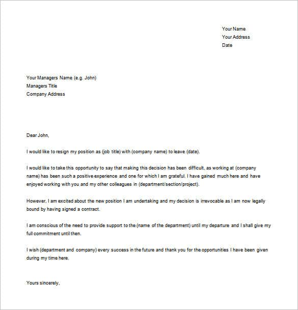 simple resignation letter for new job word free download