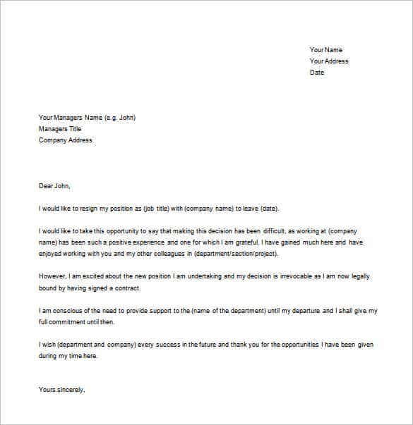 Attractive The New Job Resignation Simple Letter Template Is A Perfect And Simple Resignation  Letter That Can Be Used By Anybody Who Wants To Resign. On Resignation Letter Format