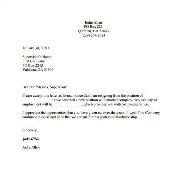 Perfect The 2 Weeks Resignation Letter Simple Template Is A Well Detailed Resignation  Letter That Conveys The Reason Of Resignations And Asks For A 2 Week Notice. Regarding Resignation Letter Templates