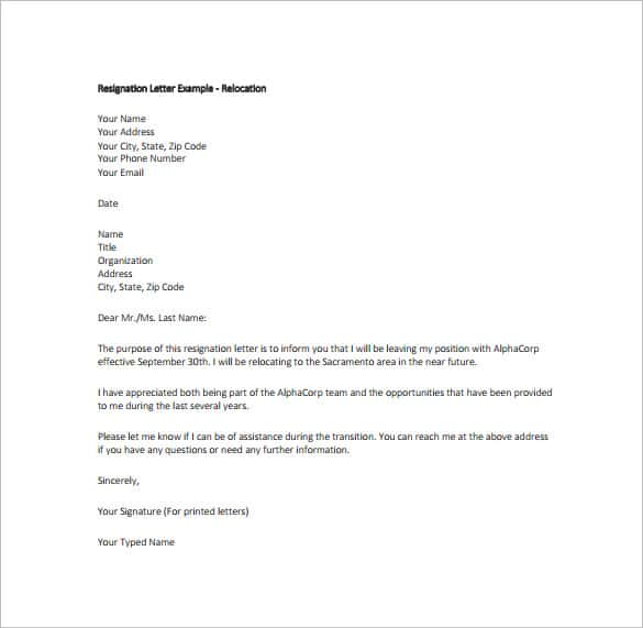 Example Of Simple Resignation Letter  Printable Editable Blank
