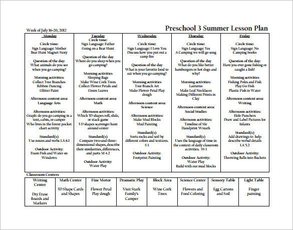Preschool Lesson Plan Template   Free Word Excel Pdf Format