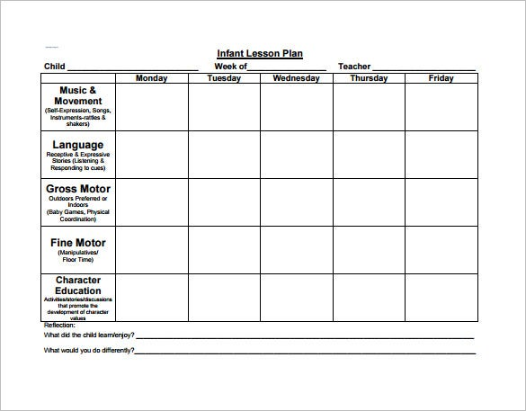 Preschool Lesson Plan Template Free Sample Example Format - Preschool weekly lesson plan template