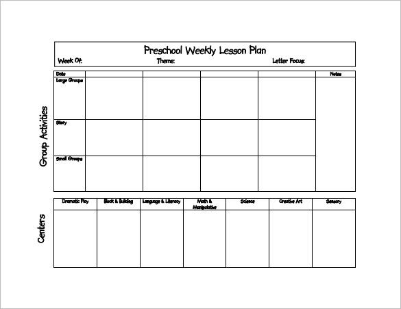 Preschool Lesson Plan Template   Free Sample Example Format