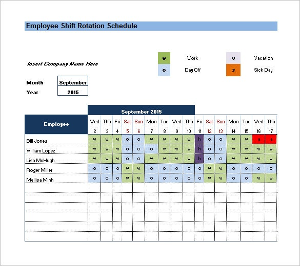 Download Monthly Employee Excel Shift Rotation Template Format