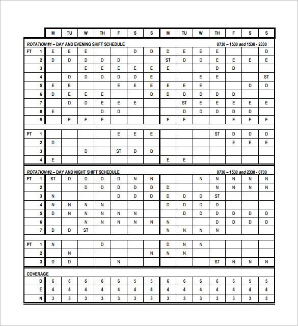 RotatingRotation Shift Schedule Template Free Word Excel - Rotating shift schedule template