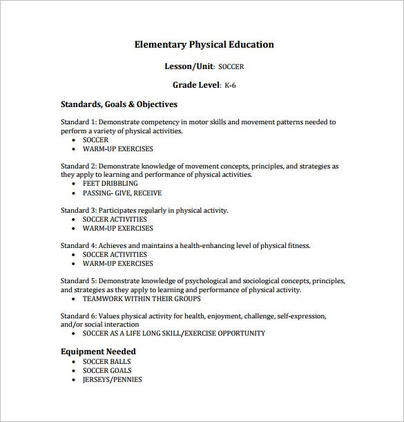 Physical Education Lesson Plan Template Free Sample Example - Health lesson plan template